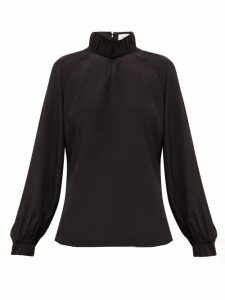 Cefinn - Gathered High Neck Silk Crepe De Chine Blouse - Womens - Black