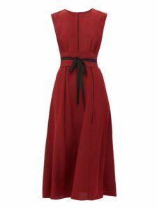 Cefinn - Tie-waist Pleated Silk Midi Dress - Womens - Burgundy