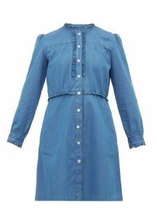 A.p.c. - Hoshi Ruffled Chambray Mini Dress - Womens - Denim