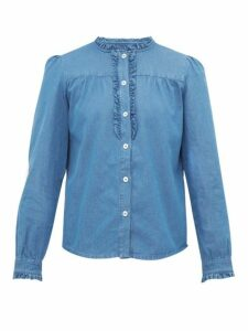 A.p.c. - Zola Ruffle Trimmed Cotton Chambray Shirt - Womens - Blue