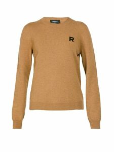 Rochas - Logo Embroidered Cashmere Sweater - Womens - Brown