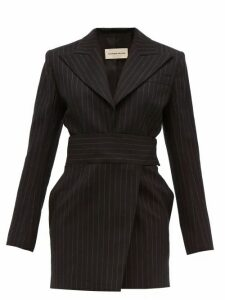 Alexandre Vauthier - Double-breasted Pinstriped Wool-blend Mini Dress - Womens - Black Multi