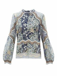 Peter Pilotto - Long Sleeved Floral Lace Top - Womens - Navy Gold