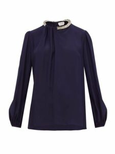 Alexander Mcqueen - Crystal Embellished Silk Blouse - Womens - Navy