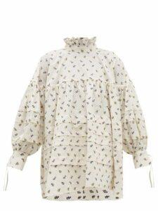 Cecilie Bahnsen - Alberte Floral-jacquard Cotton Blouse - Womens - Ivory Multi