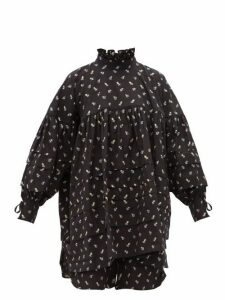 Cecilie Bahnsen - Alberte Floral Print Cotton Tunic Shirt - Womens - Black Blue