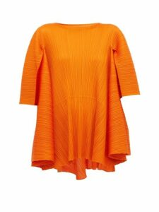Pleats Please Issey Miyake - Petal Tie Back Pleated T Shirt - Womens - Orange