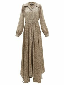 Edward Crutchley - Snake-print Belted Silk-satin Maxi Dress - Womens - Beige Multi