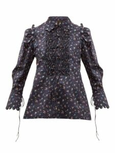 Horror Vacui - Electra Smocked Floral-print Cotton Blouse - Womens - Navy Multi