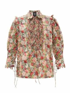 Horror Vacui - Electra Floral-print Smocked Cotton Blouse - Womens - Red Multi