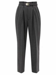 Miu Miu - Belted Wool Trousers - Womens - Dark Grey