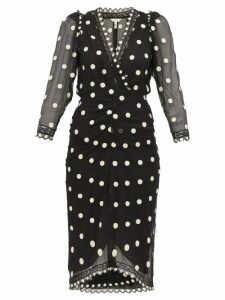Rebecca Taylor - Polka Dot Silk Chiffon Midi Dress - Womens - Black Multi