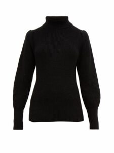 Frame - Roll Neck Ribbed Cotton Blend Sweater - Womens - Black