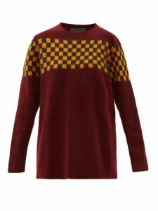 The Elder Statesman - Checked Brushed Cashmere Sweater - Womens - Burgundy