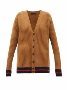 The Elder Statesman - Tipped-trim Ribbed-cashmere Cardigan - Womens - Beige