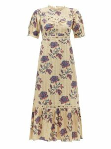 Sea - Odette Floral-print Cotton Midi Dress - Womens - Ivory Multi