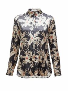 Altuzarra - Chika Hawaiian-print Silk-blend Satin Shirt - Womens - Black Print