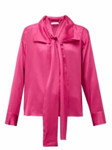 Palmer//harding - Levelled Neck-tie Satin Blouse - Womens - Pink