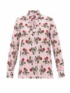 Valentino - Rose And Slogan-print Silk Blouse - Womens - Pink