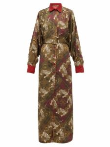 F.r.s - For Restless Sleepers - Febo Belted Tiger-print Cloqué Gown - Womens - Green Multi