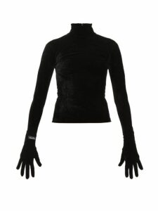 Richard Quinn - High-neck Velvet Top - Womens - Black