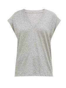 Frame - Le Mid V-neck Cotton T-shirt - Womens - Grey
