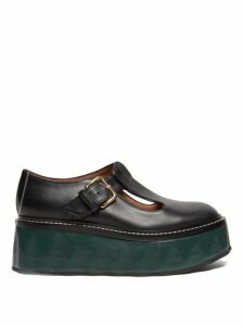 Marni - Dolly Leather Flatform Loafers - Womens - Black Green