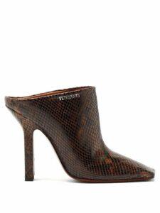 Vetements - Boomerang Python-effect Leather Mules - Womens - Dark Brown