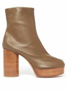 Maison Margiela - Tabi Split-toe Leather Ankle Boots - Womens - Khaki