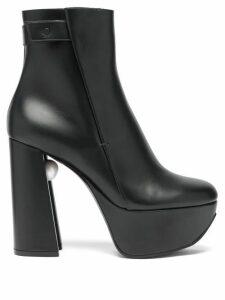 Nicholas Kirkwood - Miri Faux Pearl-embellished Leather Platform Boots - Womens - Black