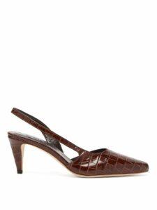 By Far - Lauren Crocodile Effect Leather Slingback Pumps - Womens - Brown