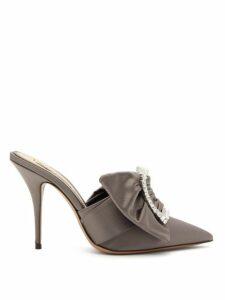 Alexandre Vauthier - Lola Crystal-embellished Buckle Satin Mules - Womens - Grey
