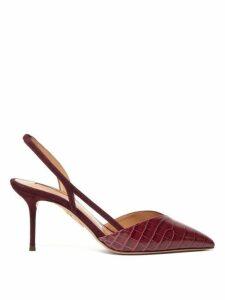 Aquazzura - Salome 75 Suede Slingback Pumps - Womens - Burgundy