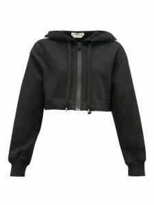 Fendi - Logo-stripe Cotton-blend Cropped Hooded Sweatshirt - Womens - Black