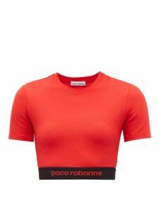 Paco Rabanne - Logo Hem Jersey Cropped Top - Womens - Red