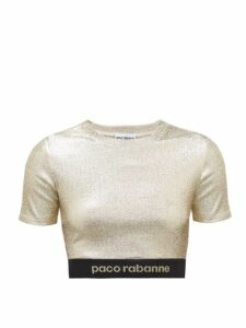 Paco Rabanne - Logo Hem Metallic Jersey Cropped Top - Womens - Gold