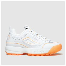Fila White & Orange Disruptor Ii Ice Trainers