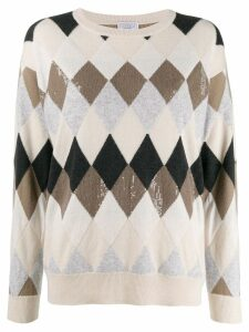 Brunello Cucinelli relaxed-fit patterned jumper - NEUTRALS