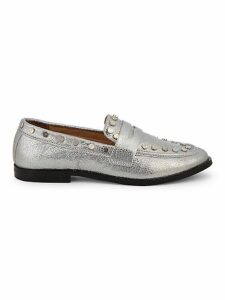 After Studded Metallic Penny Loafers