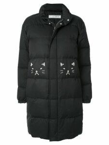 Tu es mon TRÉSOR embellished cat coat - Black