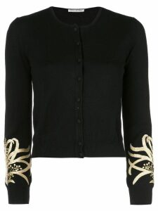 Oscar de la Renta embroidered cuff cardigan - Black