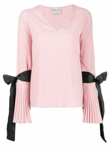 Blumarine pleated cuff crepe blouse - PINK