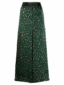 Sacai leopard print long skirt - Green