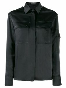 Tom Ford contrast long sleeved shirt - Black