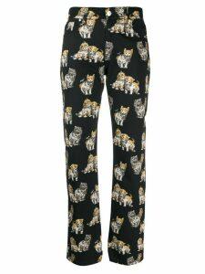 MSGM Kitten print straight-leg trousers - Black