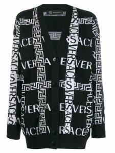 Versace Greca logo knitted cardigan - Black