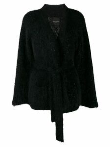 Roberto Collina ribbed belted cardigan - Black