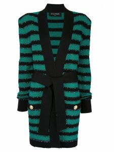 Balmain tie-waist striped cardigan - Green