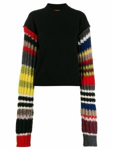 colville striped sleeve jumper - Black