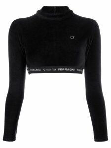 Chiara Ferragni logo band cropped sweatshirt - Black